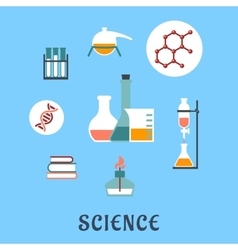 Colored flat science and medical icons vector image