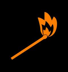 match sign orange icon on black vector image
