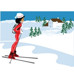 miss boo ski vector image vector image