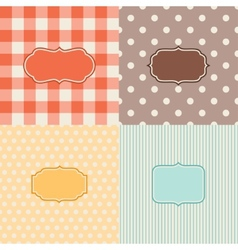 Set of four patterned backgrounds with frames vector image vector image