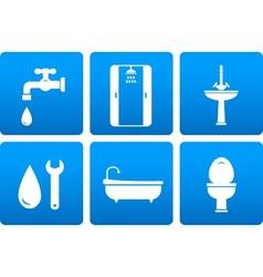 set of plumbing icons vector image