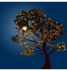 Autumn tree on a background lunar night vector