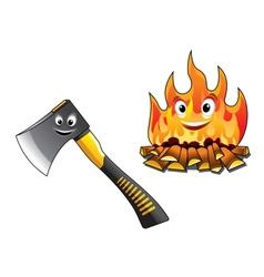 Cartoon axe with a burning fire vector image