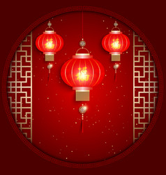 Chinese New Year Greeting Card on Red Background vector image vector image