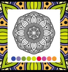 coloring mandala asian oriental decorative vector image