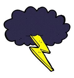 Comic cartoon lightning bolt and cloud vector