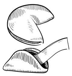 doodle fortune cookies vector image vector image