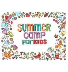 doodle summer with text vector image vector image