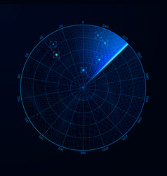 radar in searching military search system blip vector image vector image