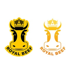 Royal Beef logo Cow in crown Logo for production vector image