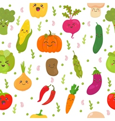 Seamless pattern with vegetables Cute background vector image vector image