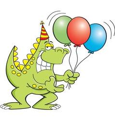 Cartoon dinosaur holding balloons vector image