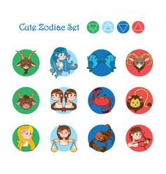 collection of the twelve zodiacs in cartoon style vector image