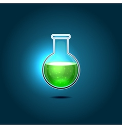 Glass Chemical Flask with Green Toxic Liquid vector image vector image