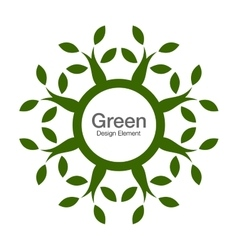 Green tree round eco organic natural bio icon vector image vector image