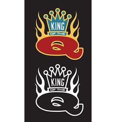 King of the Q Barbecue emblem vector image vector image