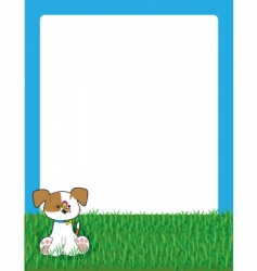 puppy in grass vector image vector image
