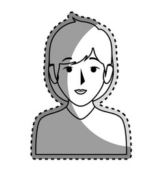 sticker silhouette half body woman with short hair vector image