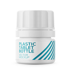 white plastic tablet bottle template vector image vector image
