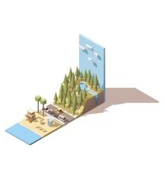 isometric seaside landscape vector image vector image