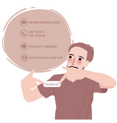 man showing contact us button email address male vector image vector image