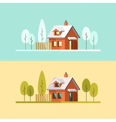 Winter and Summer house vector image vector image