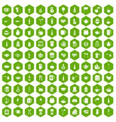 100 utensil icons hexagon green vector