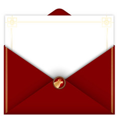 2021 year ox greeting card in red envelope vector