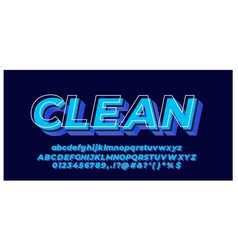 3d effect font style blue with white line design vector