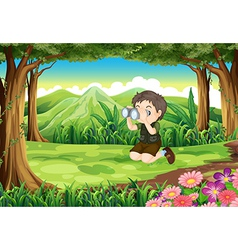 A boy at the forest with a telescope vector