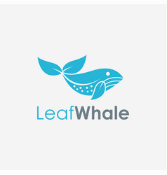 abstract minimalist leaf and whale fish logo icon vector image