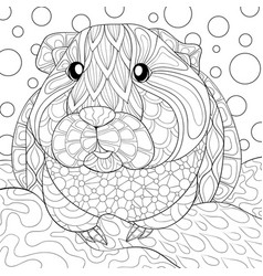 Adult coloring bookpage a cute guineea pig vector