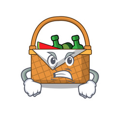 angry picnic basket mascot cartoon vector image