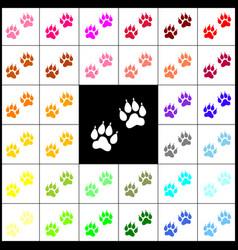 Animal tracks sign felt-pen 33 colorful vector