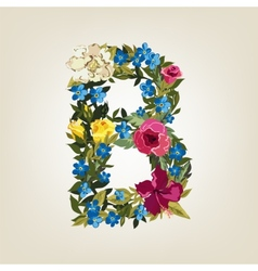 B letter Flower capital alphabet Colorful font vector