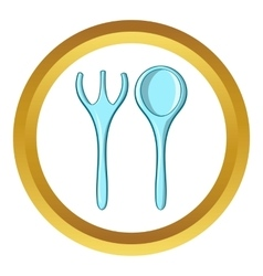 Baby spoon and fork icon cartoon style vector