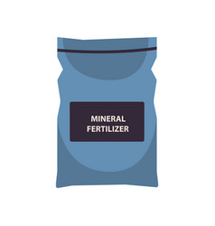 Bag with mineral fertilizer gardening time organic vector