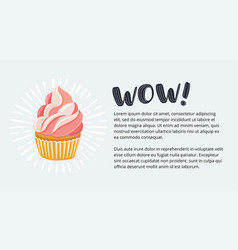 banner set with sweet retro cupcakes vector image