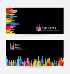 bar menu design collection horizontal banners vector image