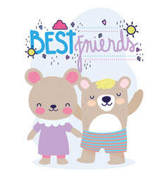 best friends little bears with dress and pants vector image