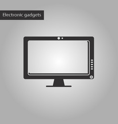 black and white style icon computer monitor vector image