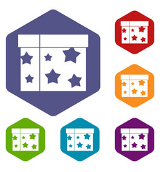 box magician icons set vector image