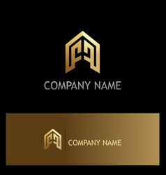 Building company shape gold logo vector
