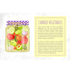 Canned pickled vegetable mix in glass jar vector