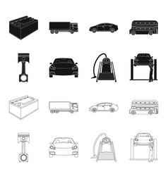 Car on lift piston and pump blackoutline icons vector