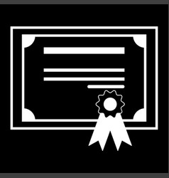 Certificate the white color icon vector