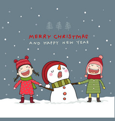 Christmas card with snowman and kids in christmas vector