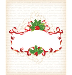 Christmas holly banner vector