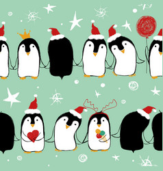 christmas seamless pattern of penguins vector image