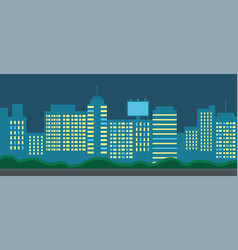 city night landscape skyscrapers with lighted vector image